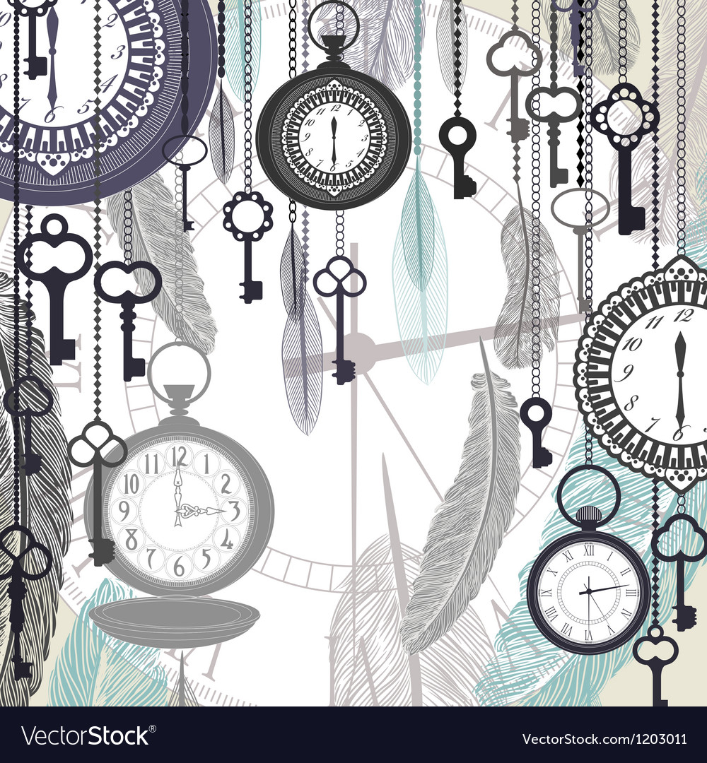 Vintage background with pocket watches and vector | Price: 1 Credit (USD $1)