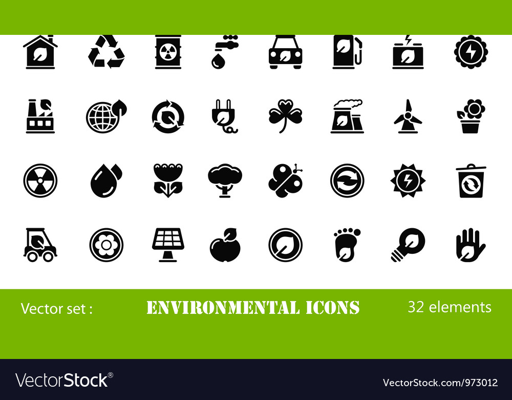 32 environmental icons vector | Price: 1 Credit (USD $1)