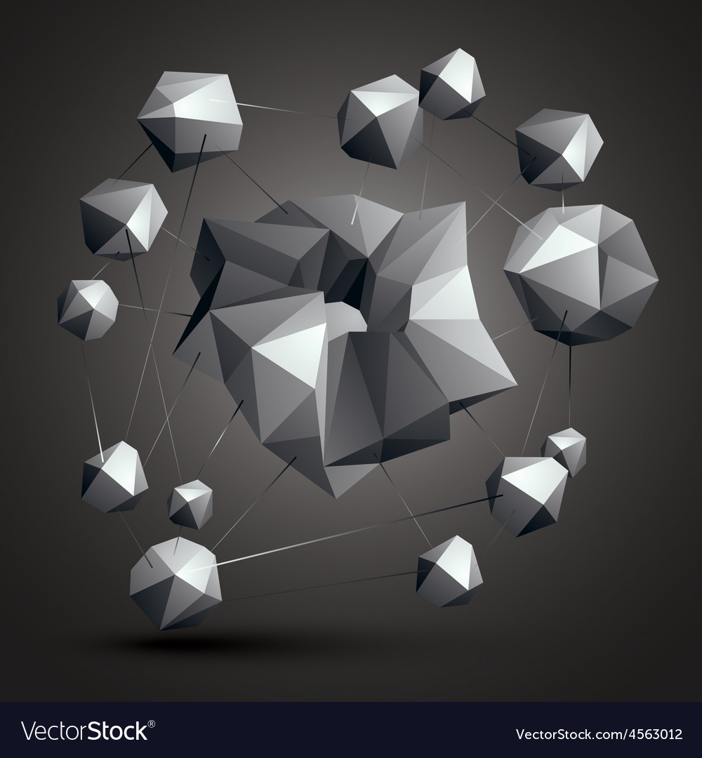 Asymmetric 3d abstract object monochrome geometric vector | Price: 1 Credit (USD $1)