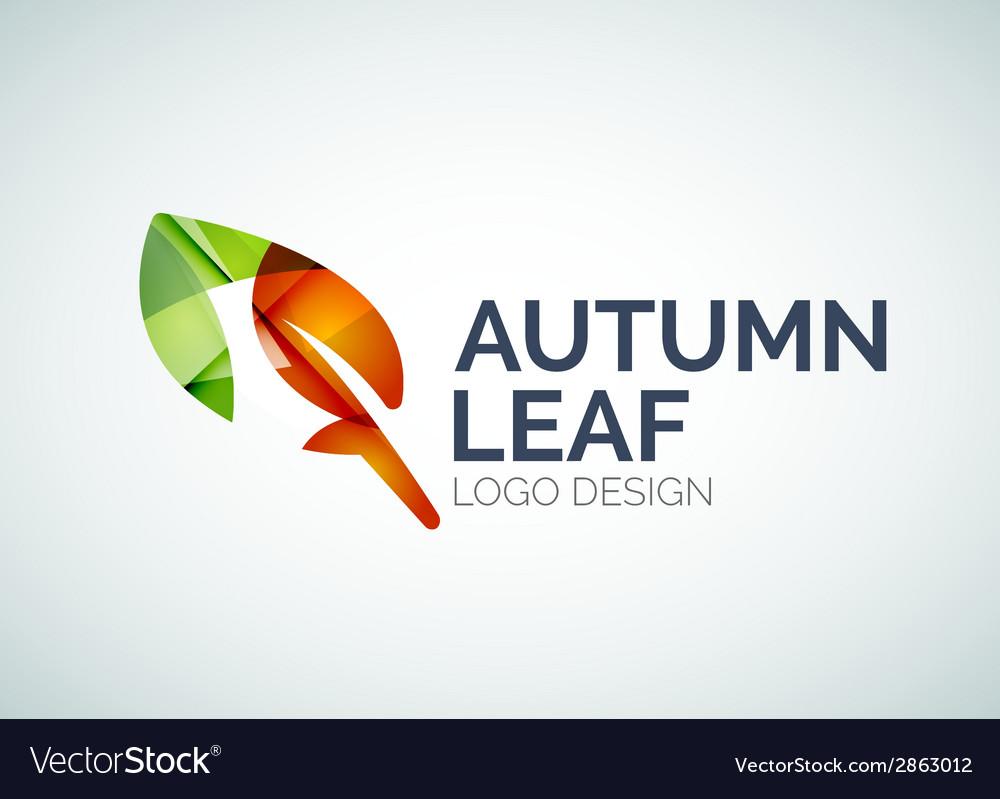 Autumn leaf logo design made of color pieces vector | Price: 1 Credit (USD $1)