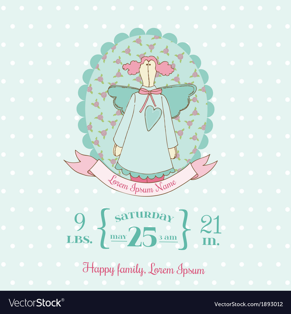 Baby shower and arrival cards - doll theme vector | Price: 1 Credit (USD $1)