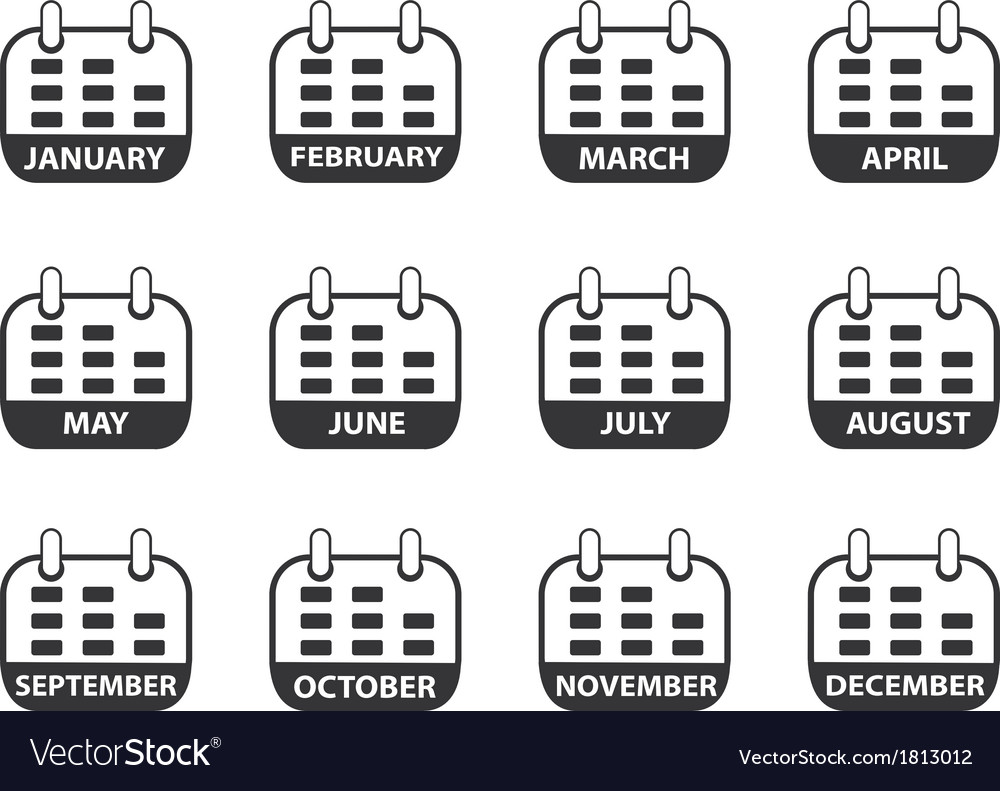 Calendar icons set vector | Price: 1 Credit (USD $1)