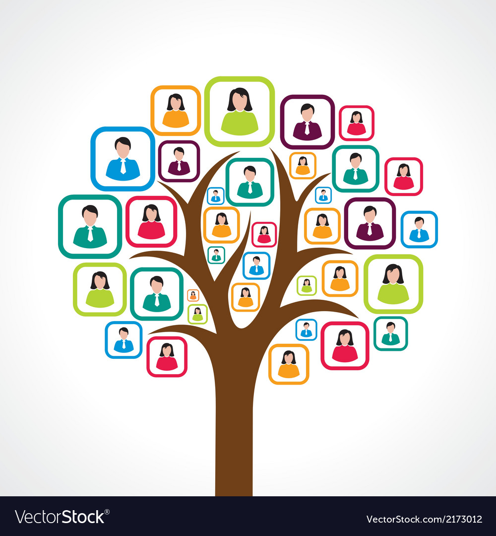 Creative colorful social media people tree concept vector | Price: 1 Credit (USD $1)