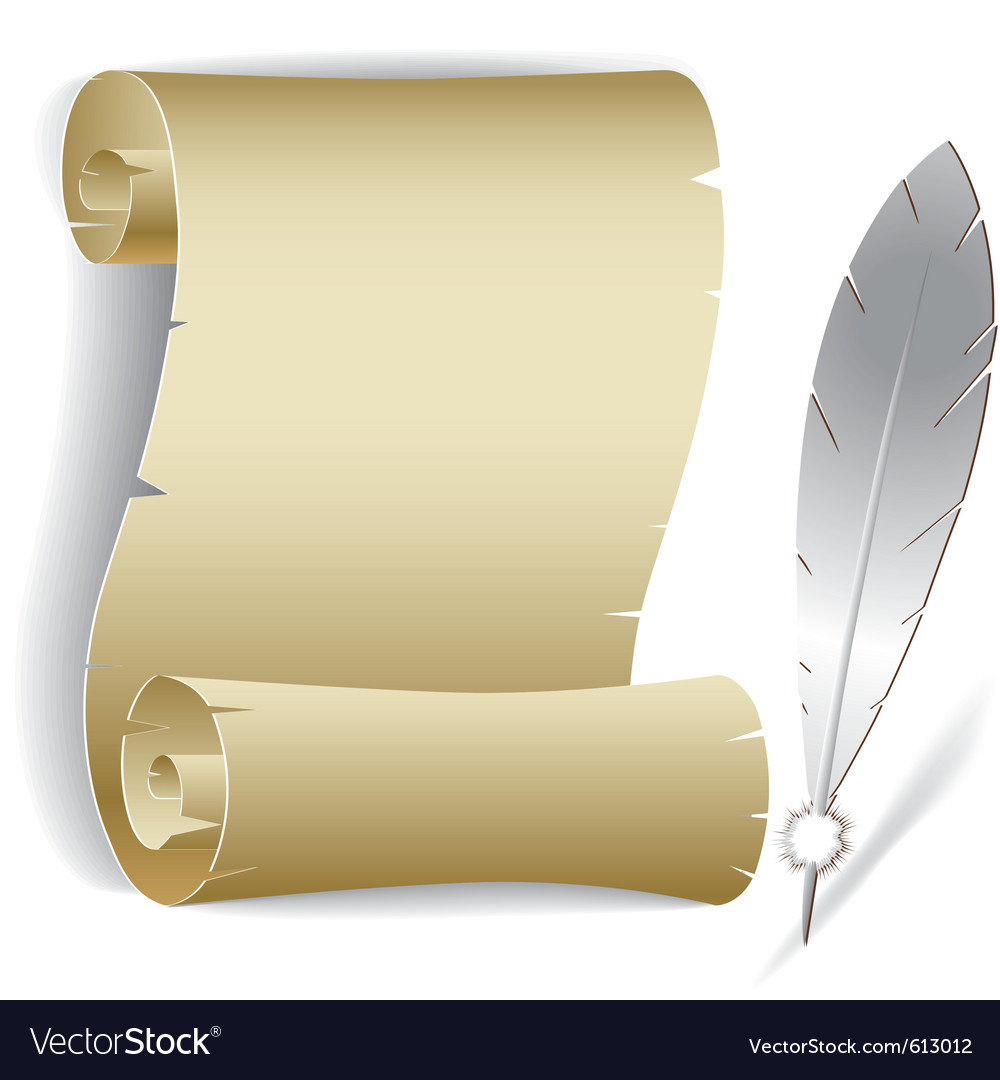 Old paper roll with feather vector | Price: 1 Credit (USD $1)