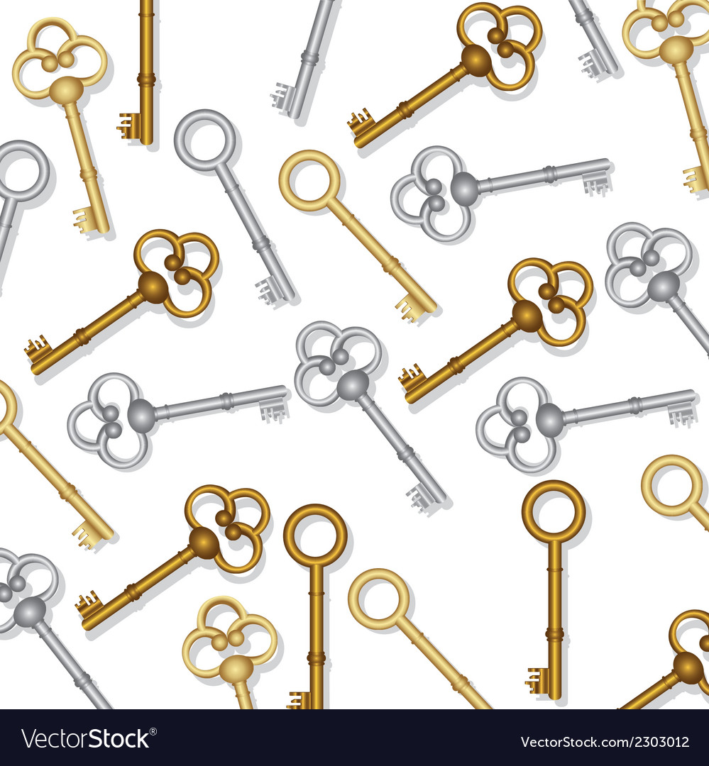 Pattern of old keys gold and silver on white backg vector | Price: 1 Credit (USD $1)