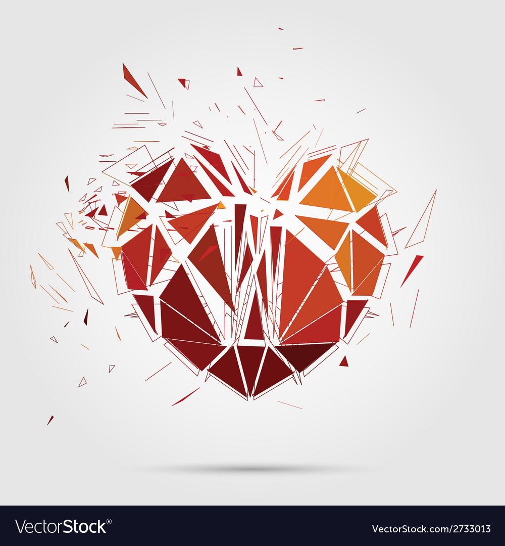 Abstract broken heart 3d vector | Price: 1 Credit (USD $1)