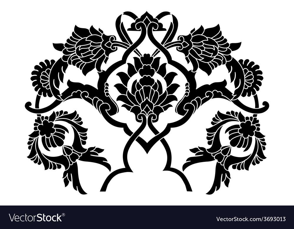 Black artistic ottoman motif series vector | Price: 1 Credit (USD $1)
