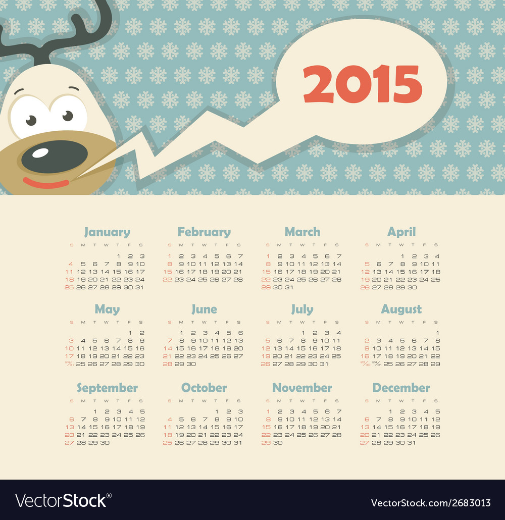 Calendar 2015 year with deer vector | Price: 1 Credit (USD $1)