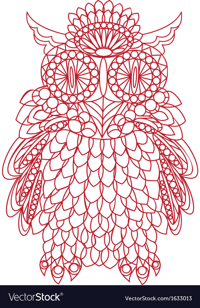 Decorative bird - owl is made of lace isolated vector | Price: 1 Credit (USD $1)