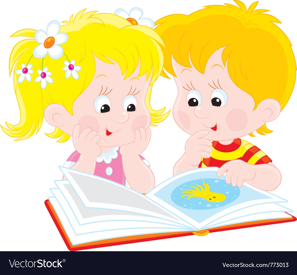 Girl and boy read a book vector | Price: 3 Credit (USD $3)