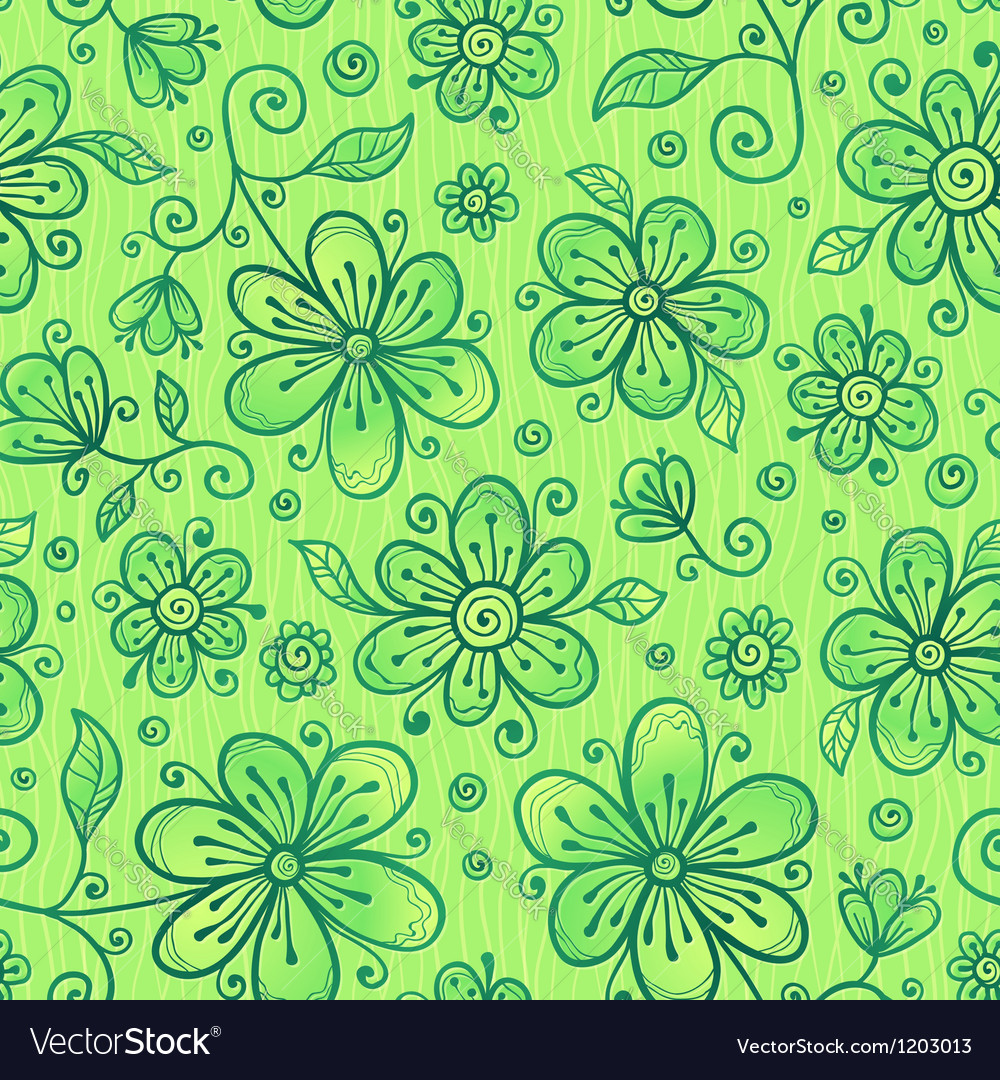 Green doodle flowers seamless pattern vector | Price: 1 Credit (USD $1)