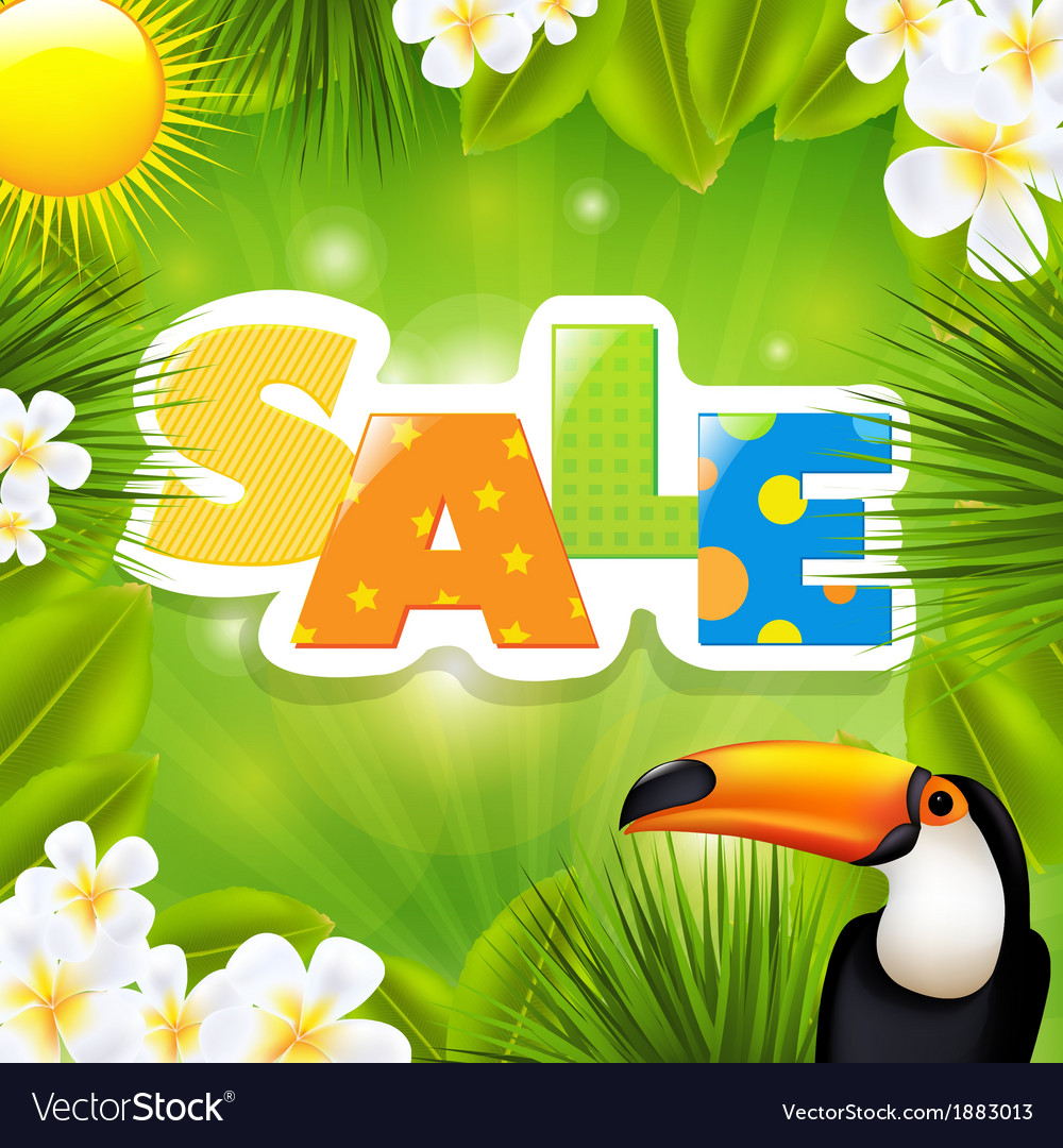 Green sale poster with tropical elements vector | Price: 1 Credit (USD $1)