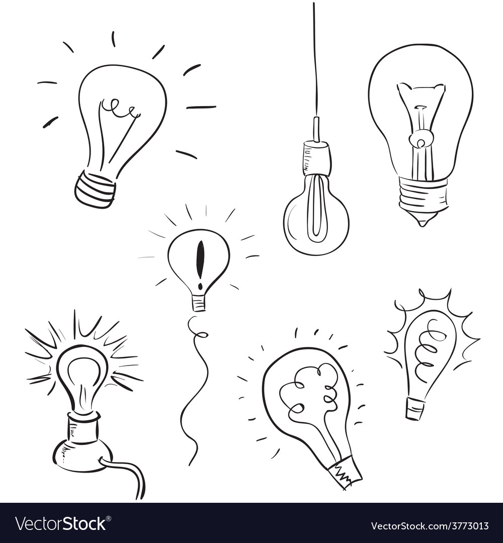 Light bulb set sketchy design vector