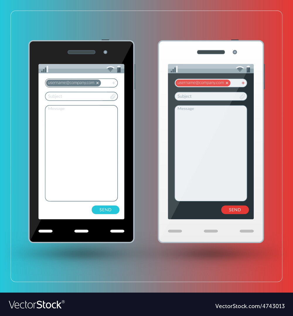 Modern smartphone with email app on the screen vector | Price: 1 Credit (USD $1)