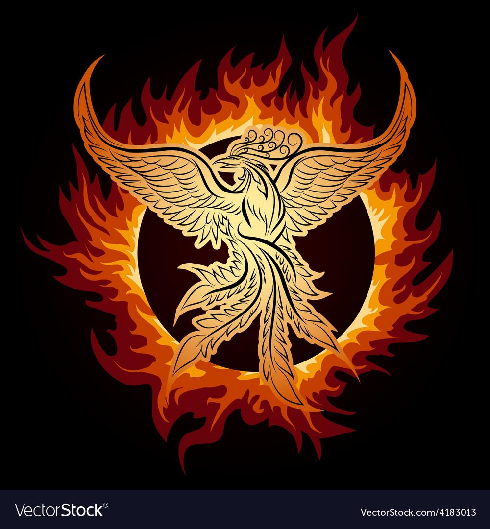 Phoenix in flame vector | Price: 3 Credit (USD $3)