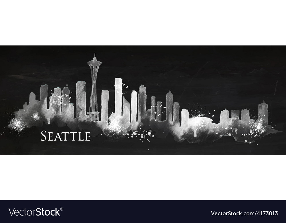 Silhouette chalk seattle vector | Price: 3 Credit (USD $3)