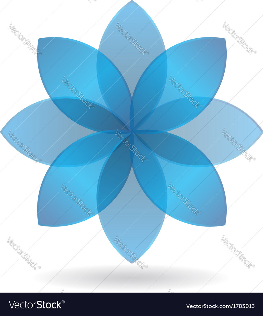 Stylish blue flower logo vector | Price: 1 Credit (USD $1)