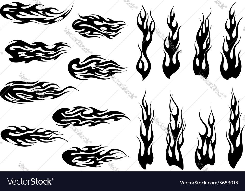 Tribal black fire flames tattoo design vector | Price: 1 Credit (USD $1)