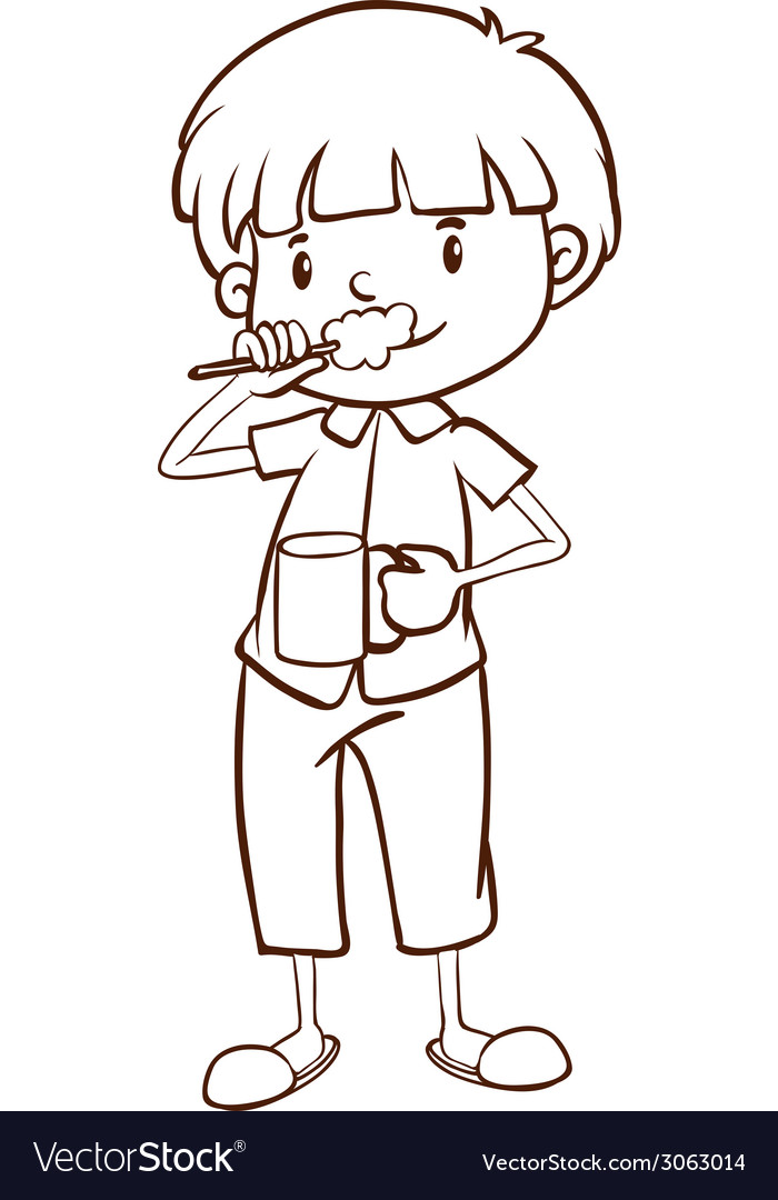 A plain sketch of a boy brushing his teeth vector | Price: 1 Credit (USD $1)