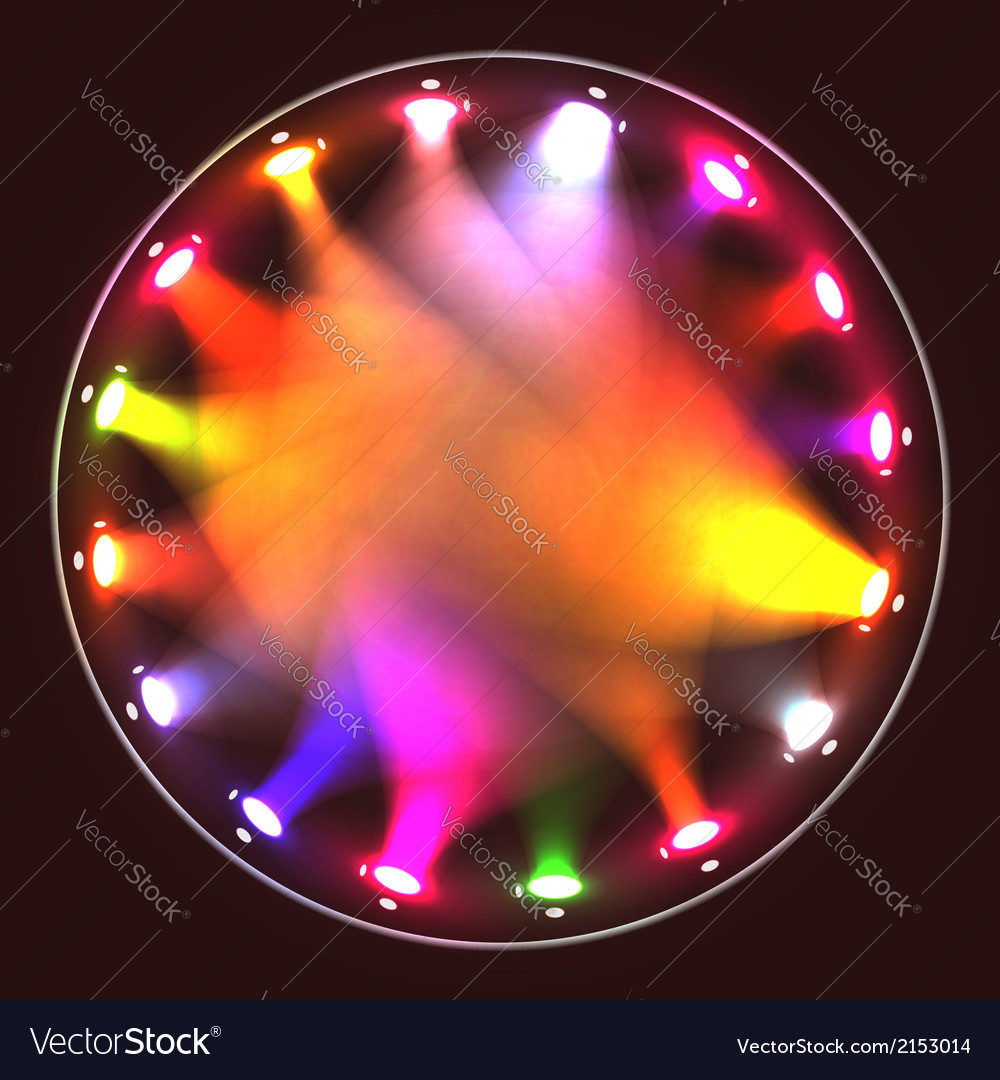 Colorful theatrical spotlights on a circular ramp vector | Price: 1 Credit (USD $1)