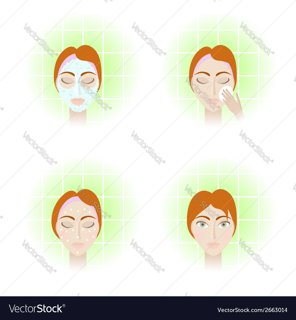 Face care stages vector | Price: 1 Credit (USD $1)