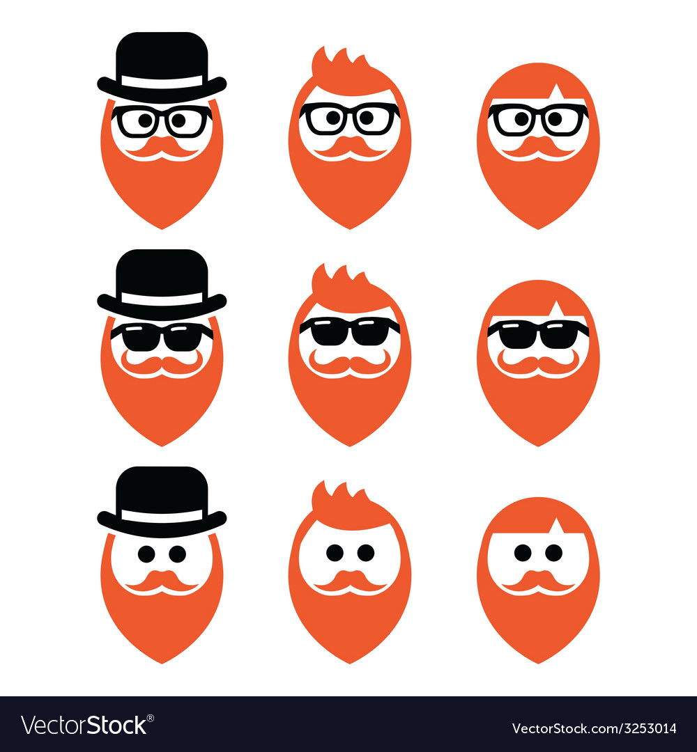 Faces man with beard icons set ginger vector | Price: 1 Credit (USD $1)