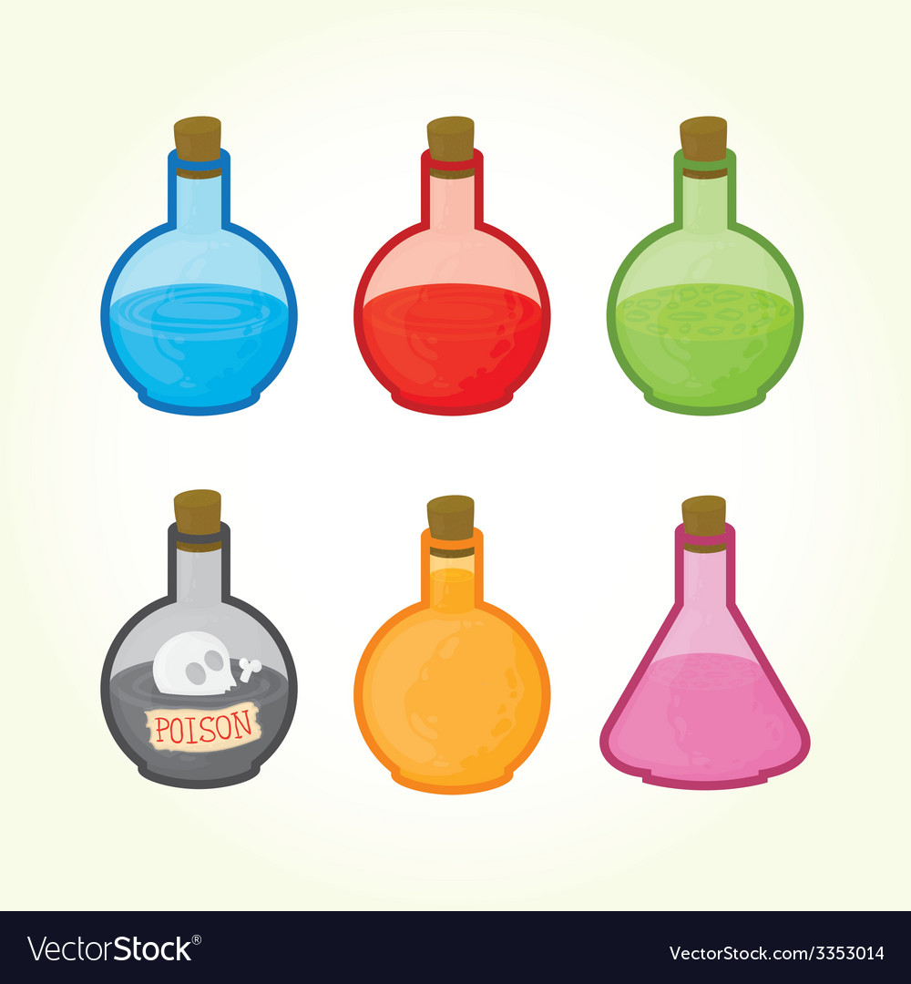 Glass bulbs with liquids icons vector | Price: 1 Credit (USD $1)