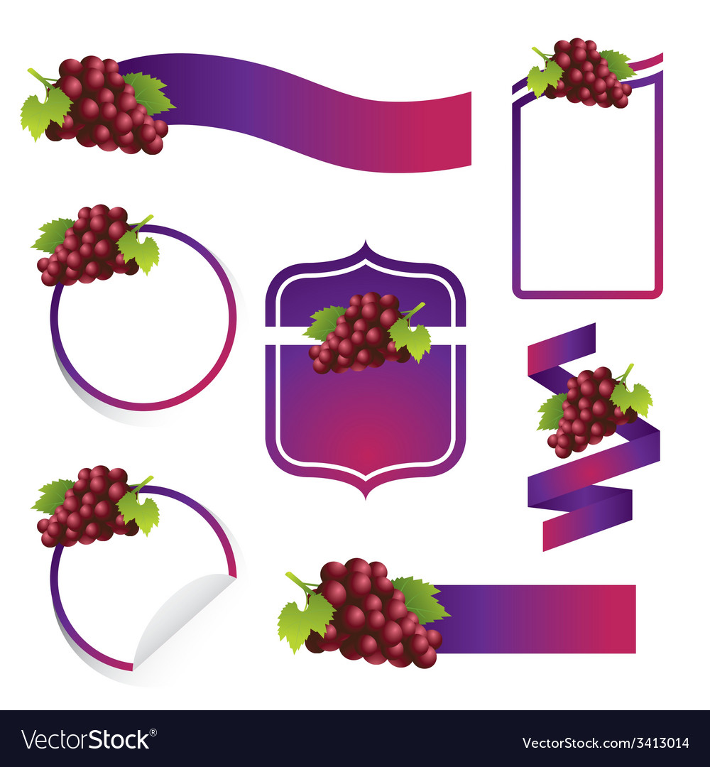 Grape label set vector | Price: 1 Credit (USD $1)