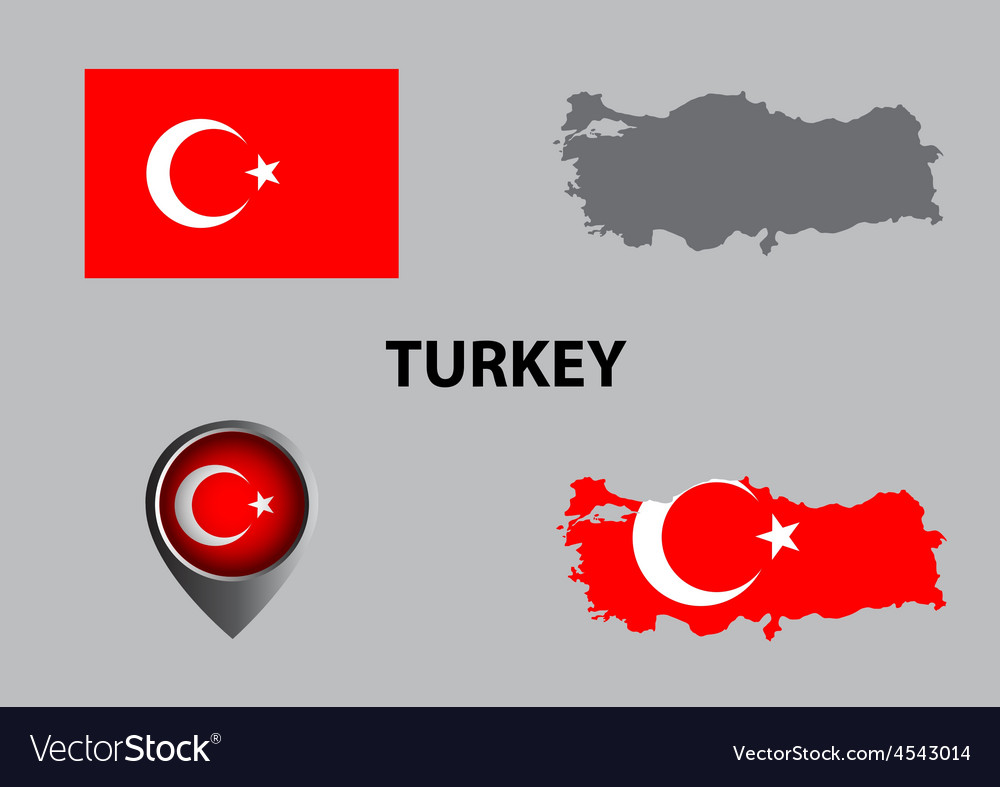 Map of turkey and symbol vector | Price: 1 Credit (USD $1)