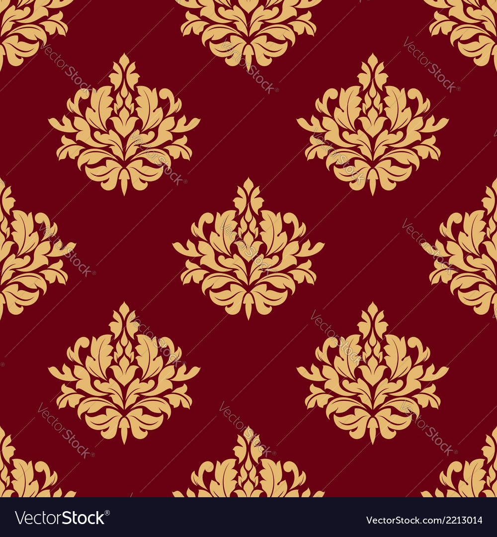 Pretty maroon damask style floral design vector | Price: 1 Credit (USD $1)