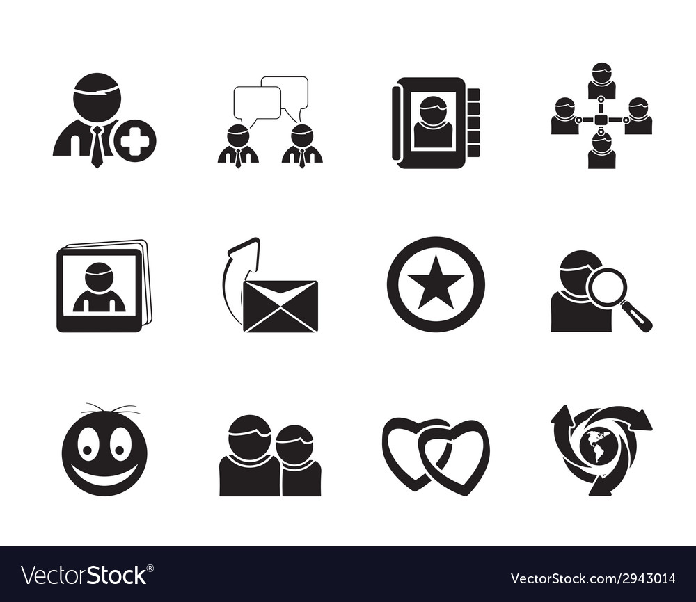 Silhouette internet community and social network vector | Price: 1 Credit (USD $1)