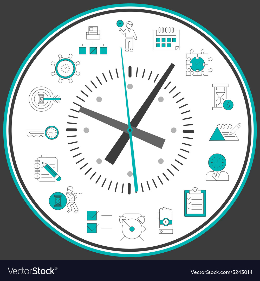 Time management clock vector