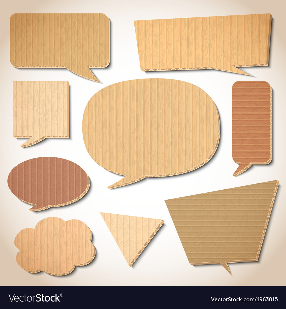 Cardboard speech bubbles set vector | Price: 1 Credit (USD $1)