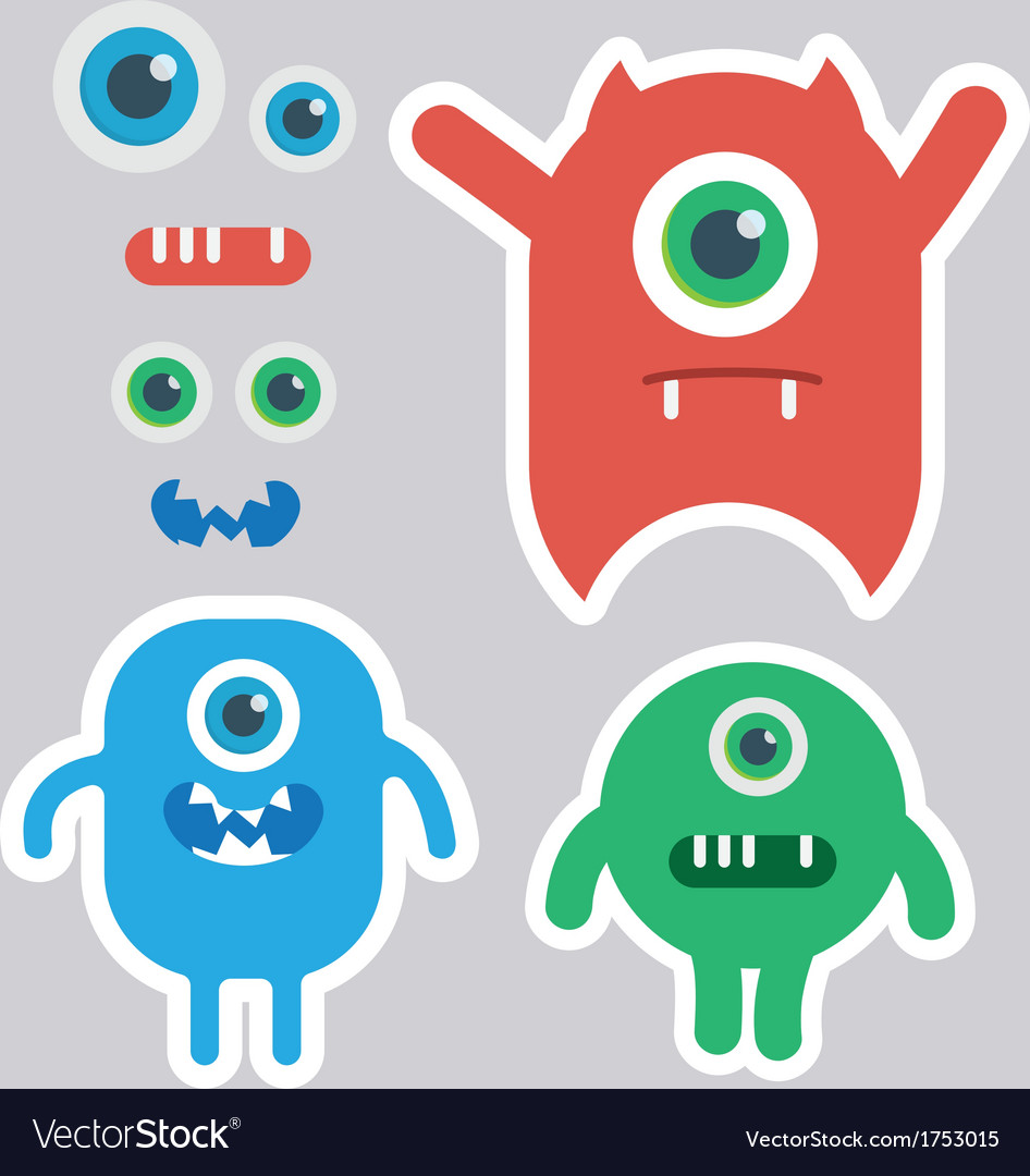Cute monster designer kit vector | Price: 1 Credit (USD $1)