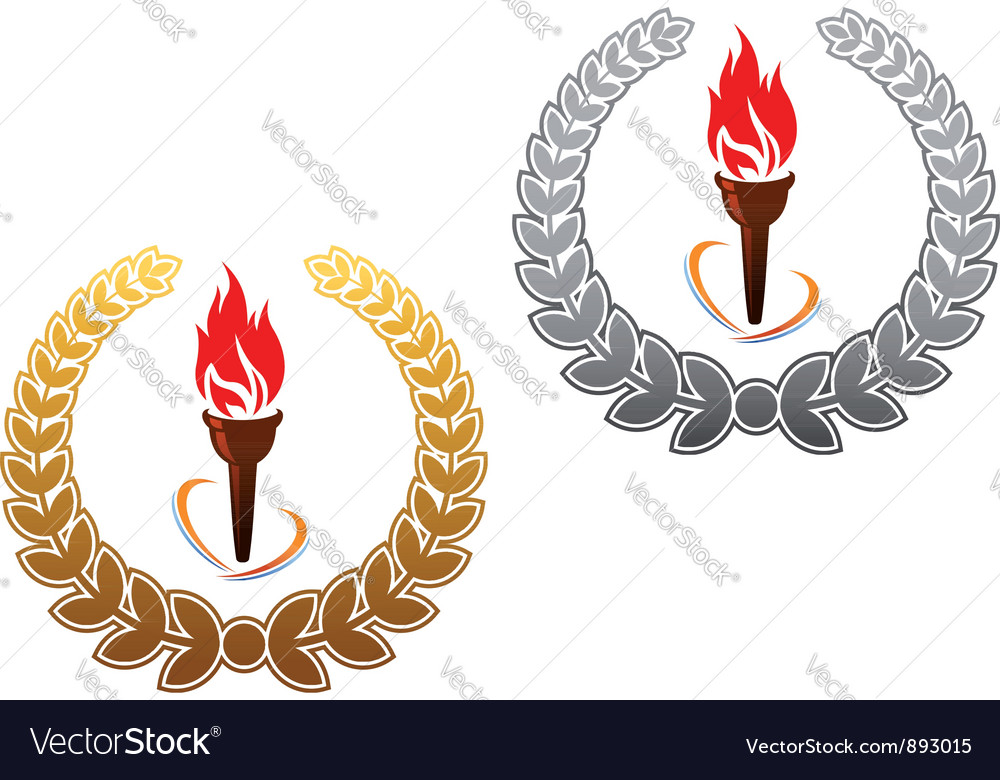 Flaming torch in golden and silver laurel vector | Price: 1 Credit (USD $1)