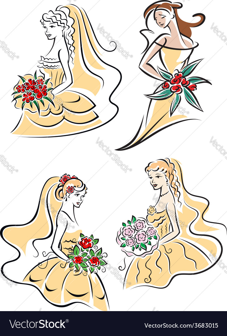 Happy outline brides with lush bouquets vector | Price: 1 Credit (USD $1)