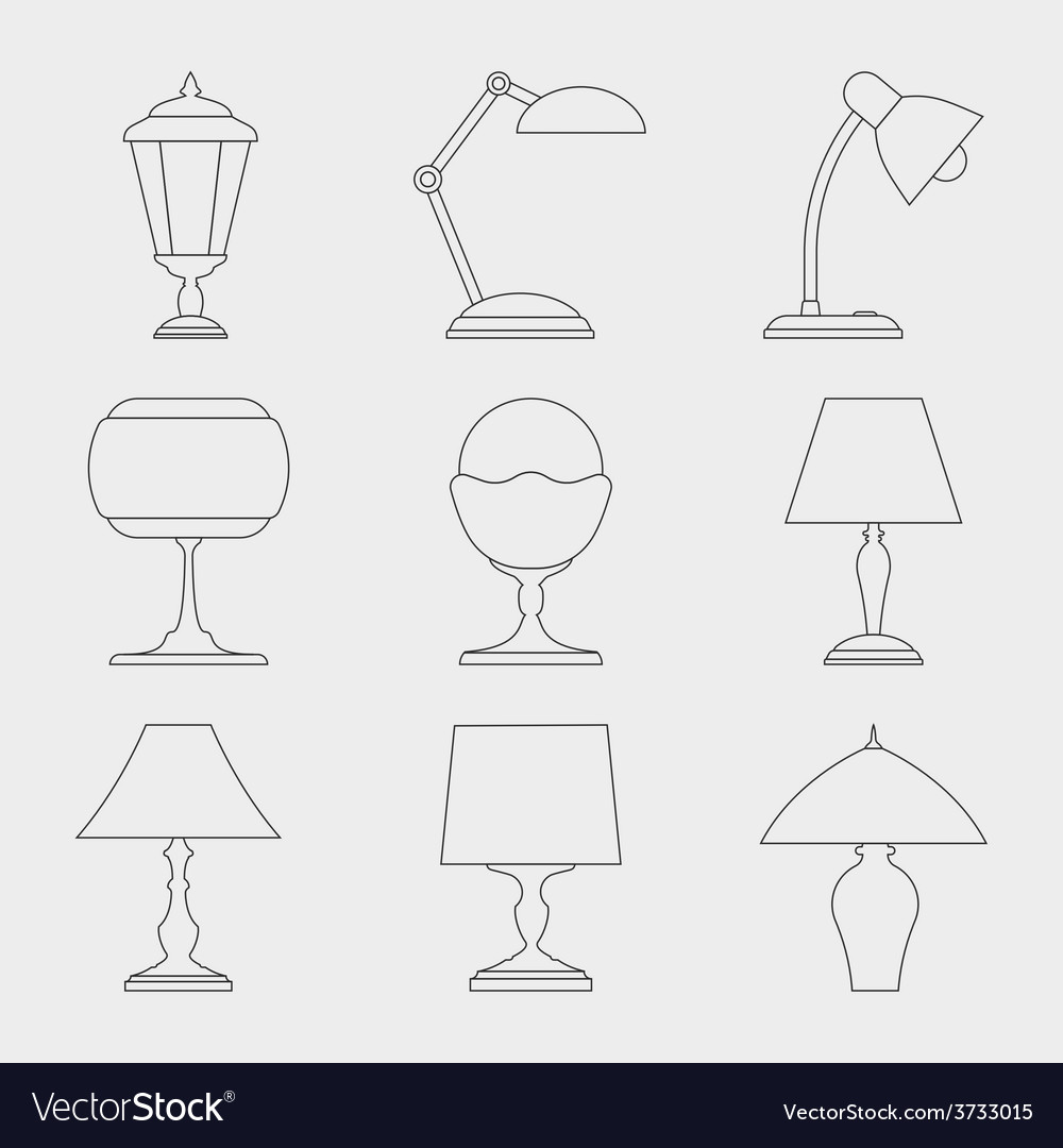 Icon set of lamps vector | Price: 1 Credit (USD $1)
