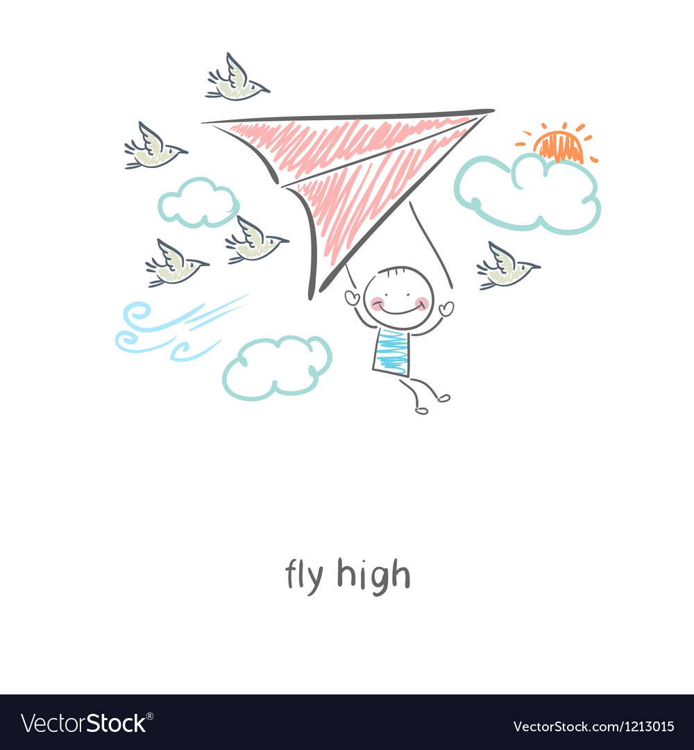 Man flying a hang glider vector | Price: 1 Credit (USD $1)