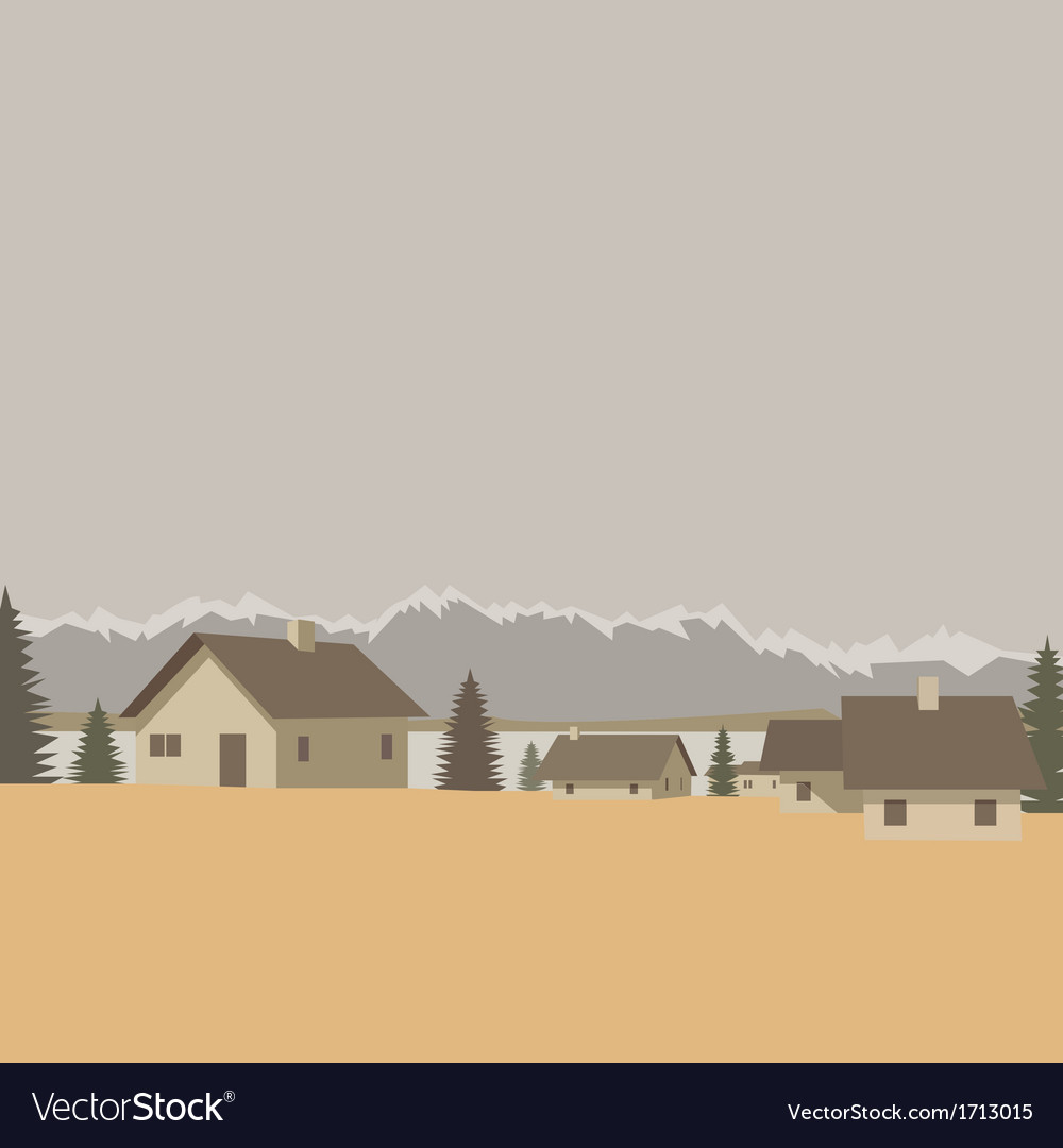 Mountain village landscape vector | Price: 1 Credit (USD $1)