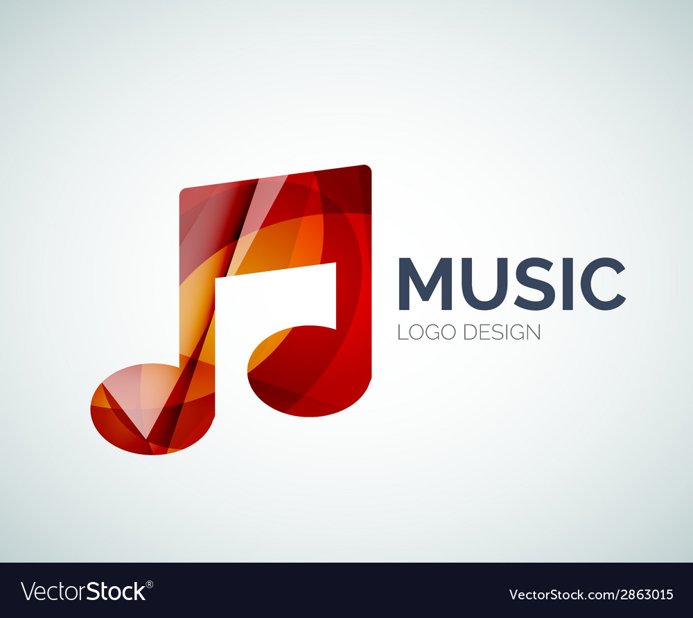 Music note icon logo made of color pieces vector | Price: 1 Credit (USD $1)