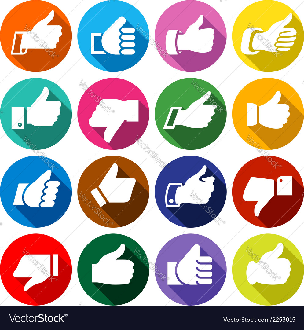 Thumbs up set on round buttons vector | Price: 1 Credit (USD $1)