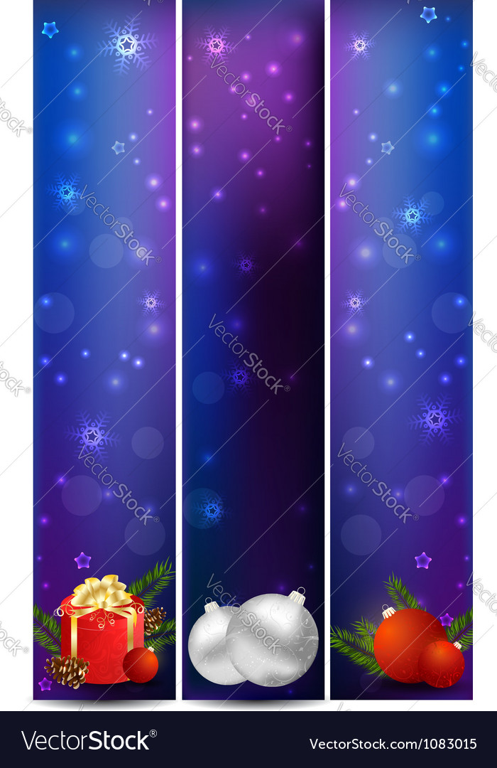 Vertical christmas banners with decoration vector | Price: 1 Credit (USD $1)