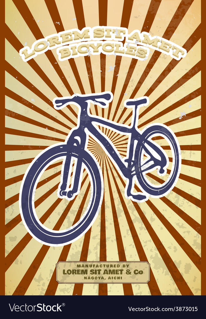 Vintage bicycle poster vector | Price: 1 Credit (USD $1)