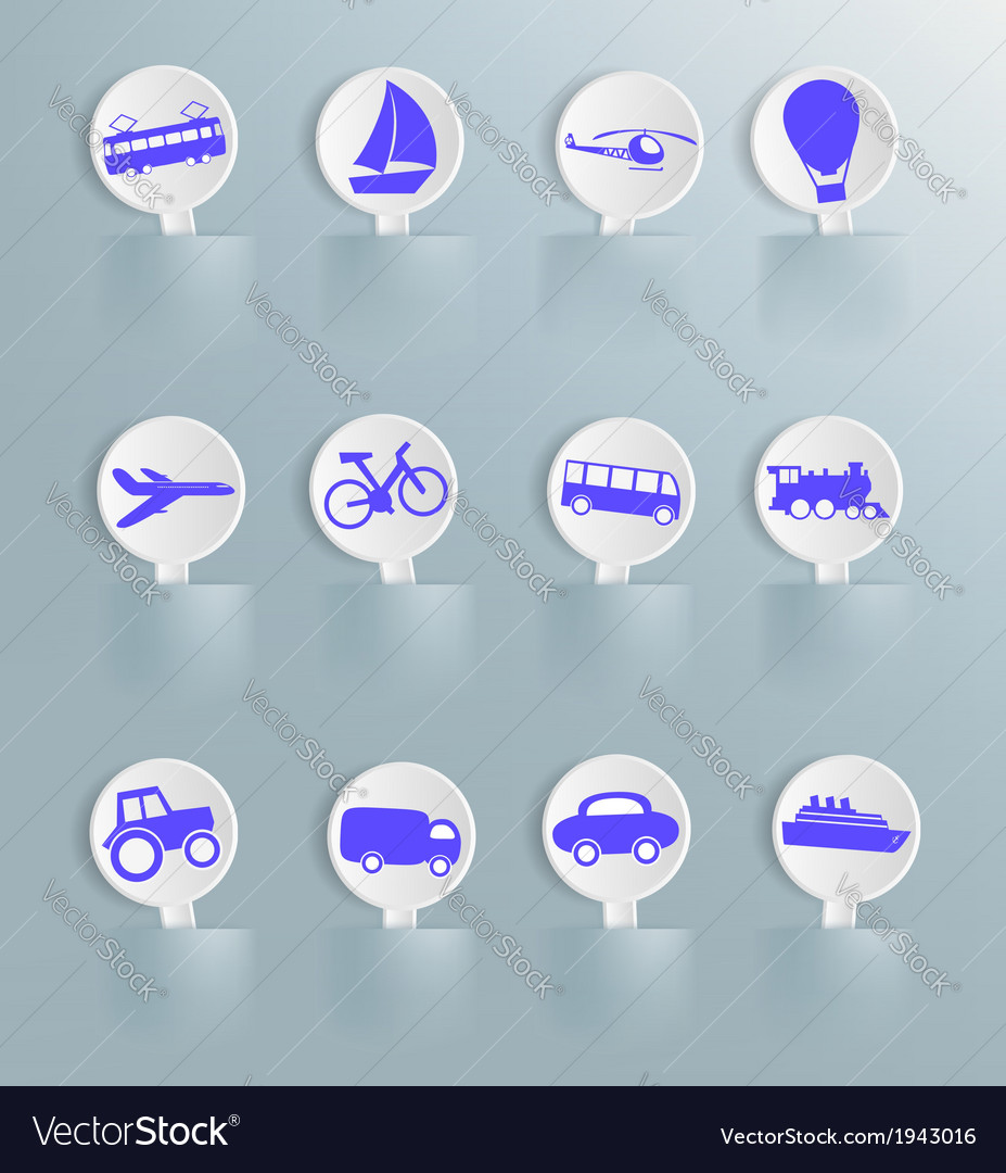 Cards with the image of land water and air transpo vector | Price: 1 Credit (USD $1)