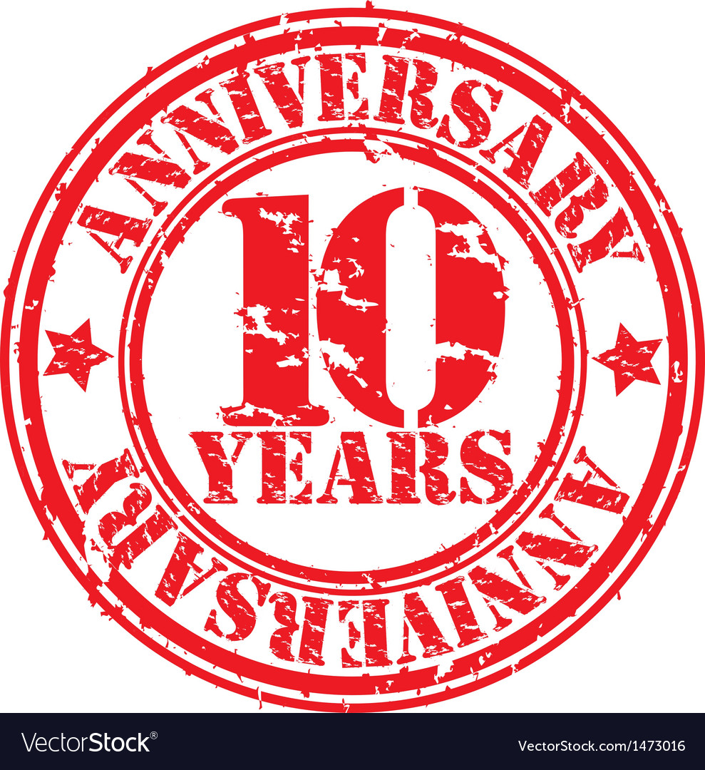 Grunge 10 years anniversary rubber stamp vector | Price: 1 Credit (USD $1)