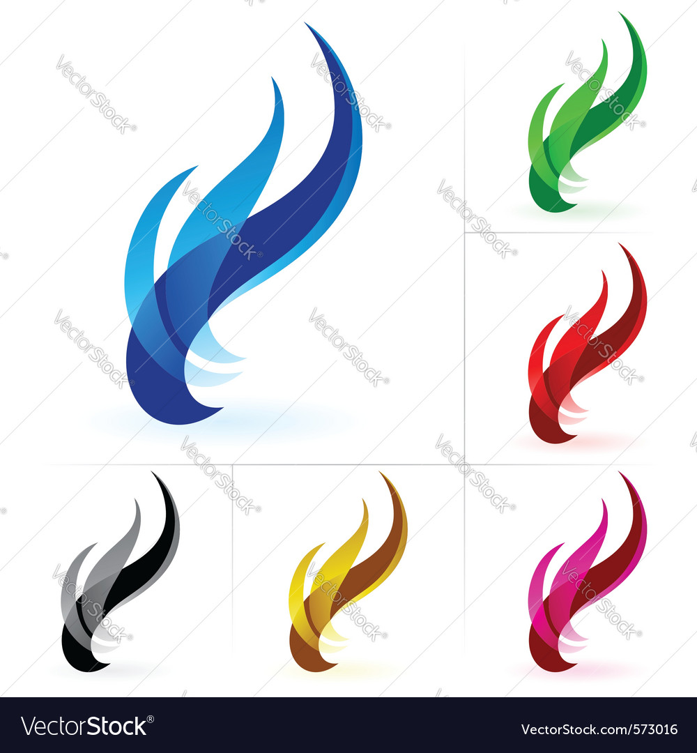Set of fire icon isolated on a white background vector | Price: 1 Credit (USD $1)