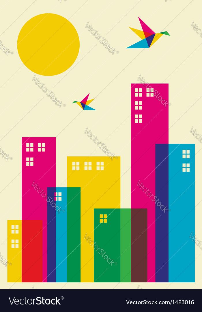 Spring time city vector | Price: 1 Credit (USD $1)