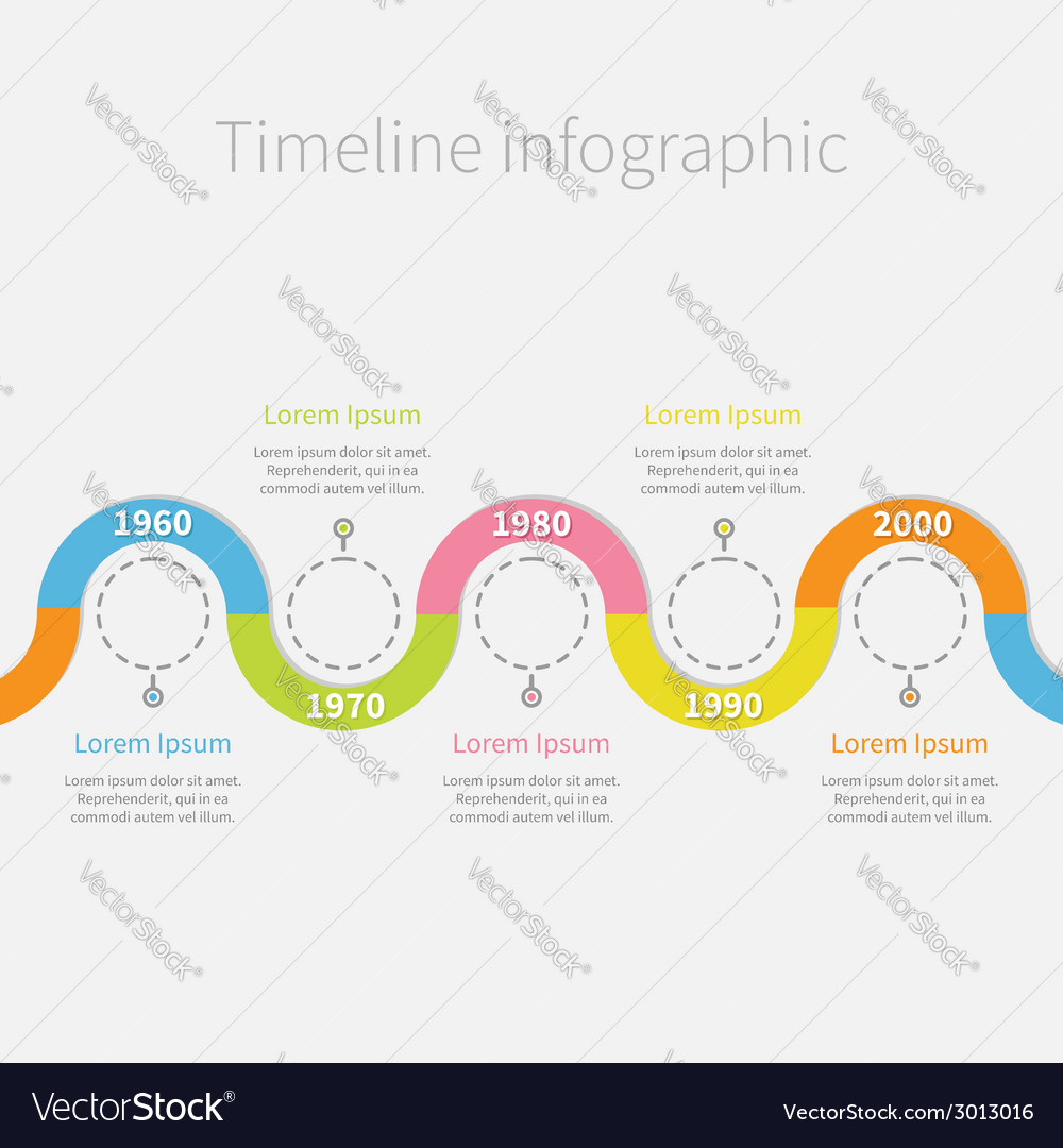 Timeline infographic with snail colored ribbon vector | Price: 1 Credit (USD $1)