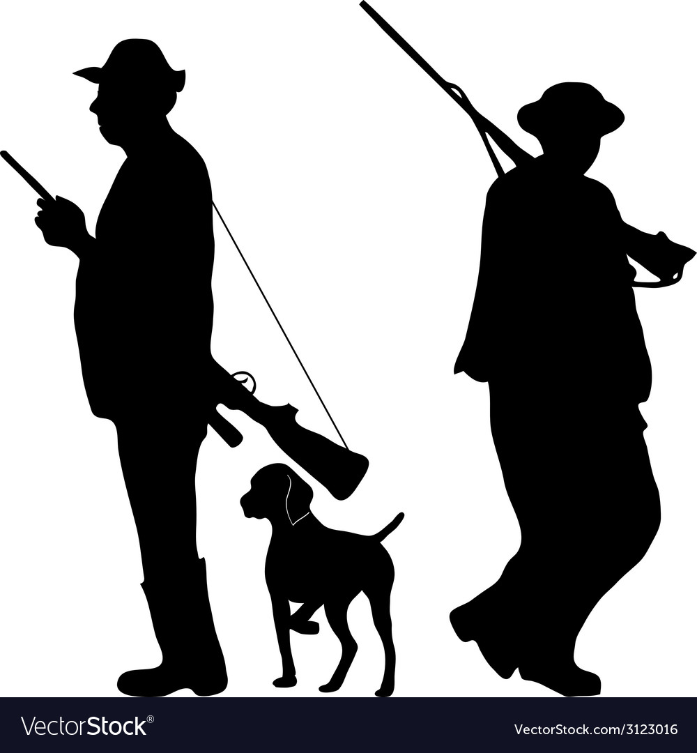 Two hunters with rifles vector | Price: 1 Credit (USD $1)