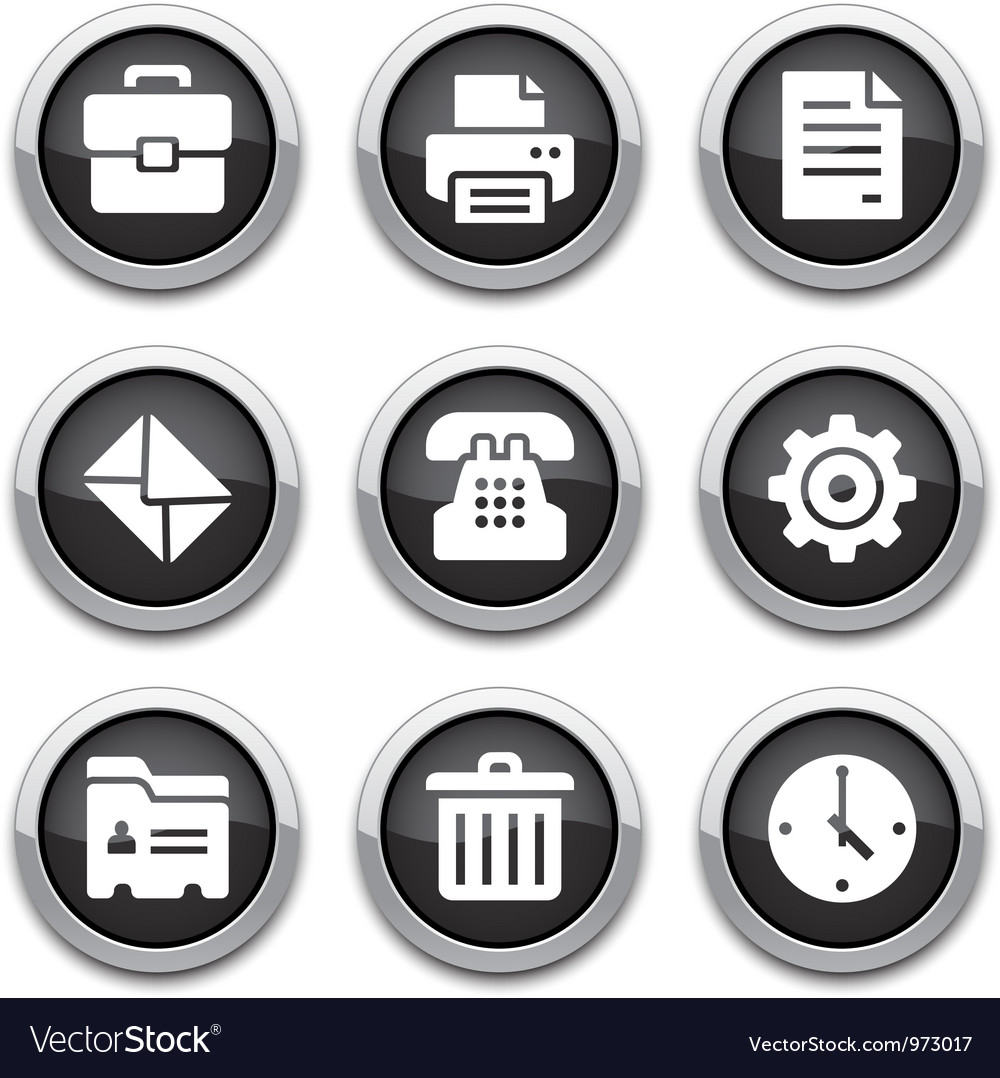 Black office buttons vector | Price: 1 Credit (USD $1)